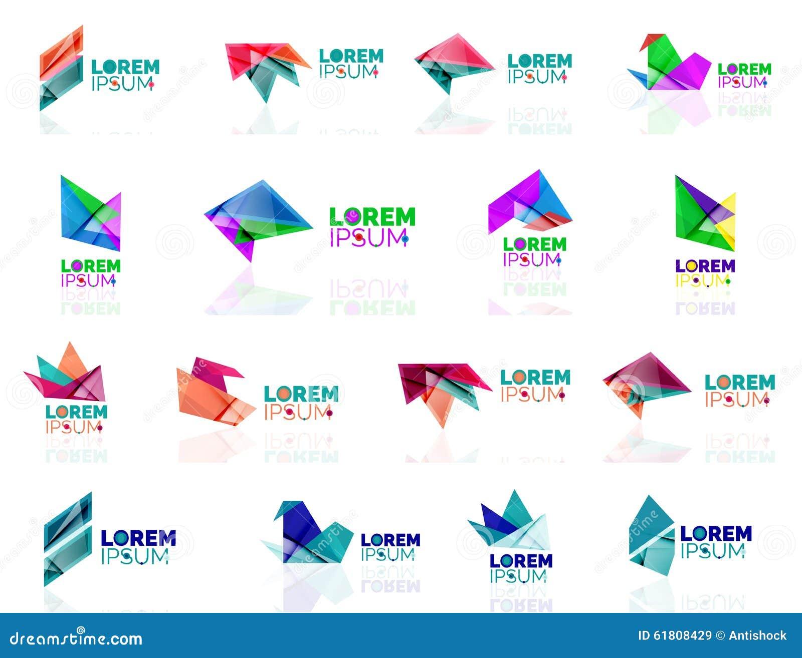 Geometric Shapes Company Logo Set, Paper Origami Stock ... - photo#8