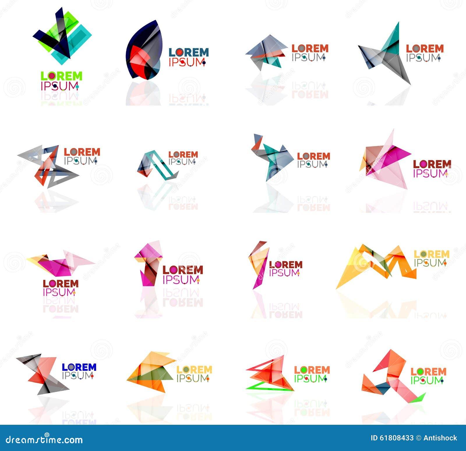 Geometric Shapes Company Logo Set, Paper Origami Stock ... - photo#21