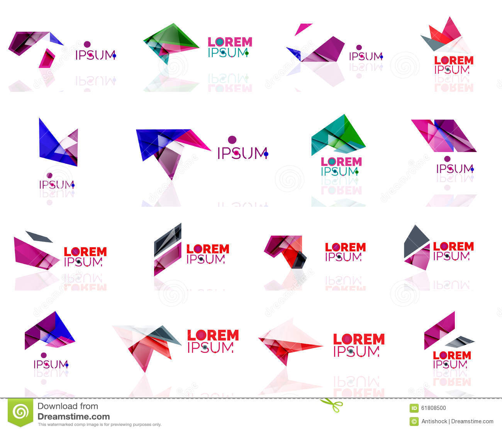 Geometric Shapes Company Logo Set, Paper Origami Stock ... - photo#16