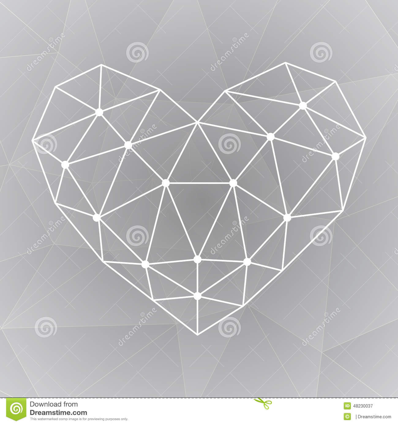 Geometric Shapes Heart Template For Valentines Day Stock