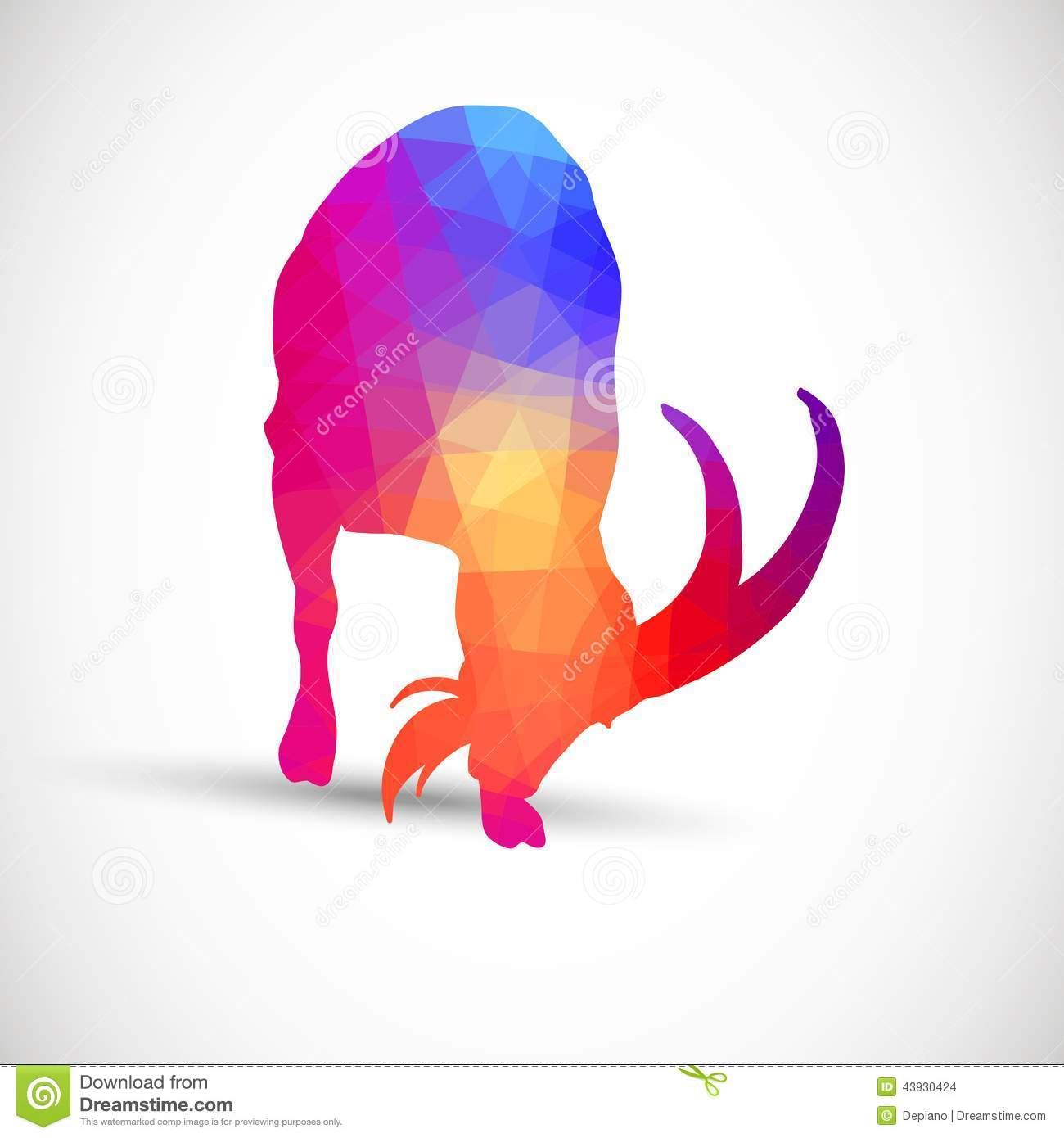 Geometric Silhouettes Animals Goat, Ibexes Stock Vector ...