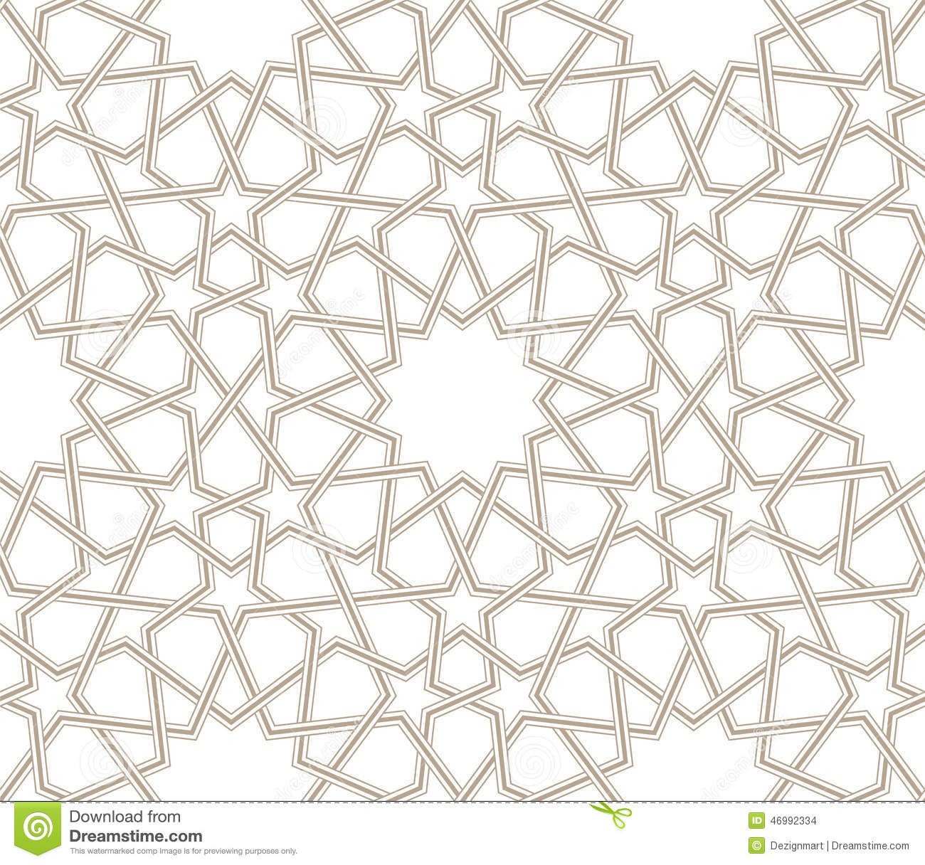 Islamic Geometric Star Vector Pattern Grey Lines With White Background