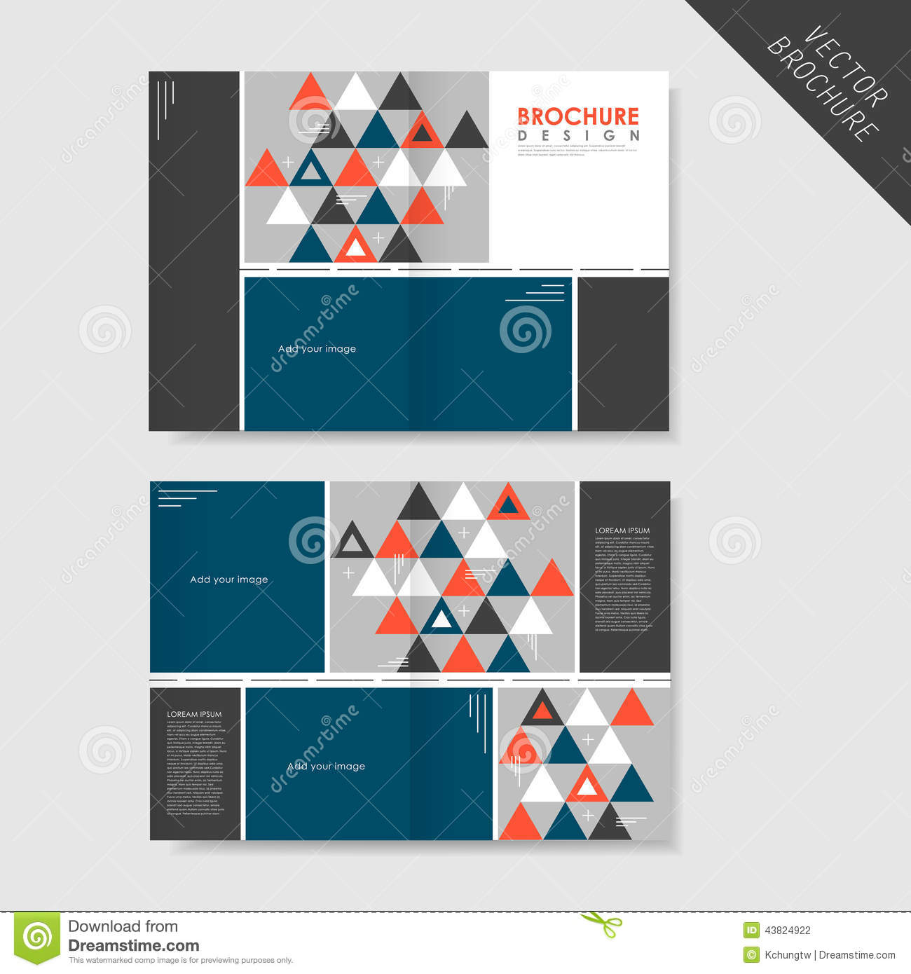Geometric Style Halffold Brochure Template For Business Stock - Single fold brochure template