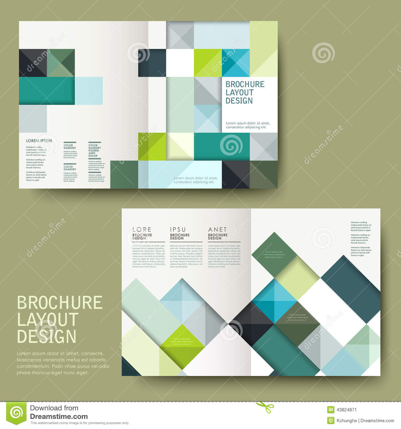geometric style half fold template brochure stock vector