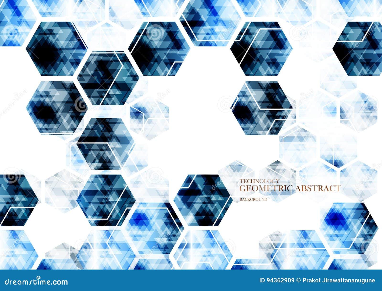 Geometric Technological Digital Abstract Modern Blue Hexagon