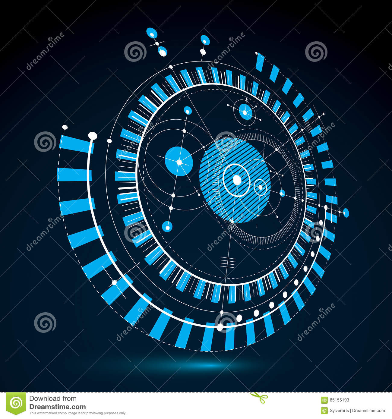 Geometric Technology 3d Vector Drawing Blue Technical