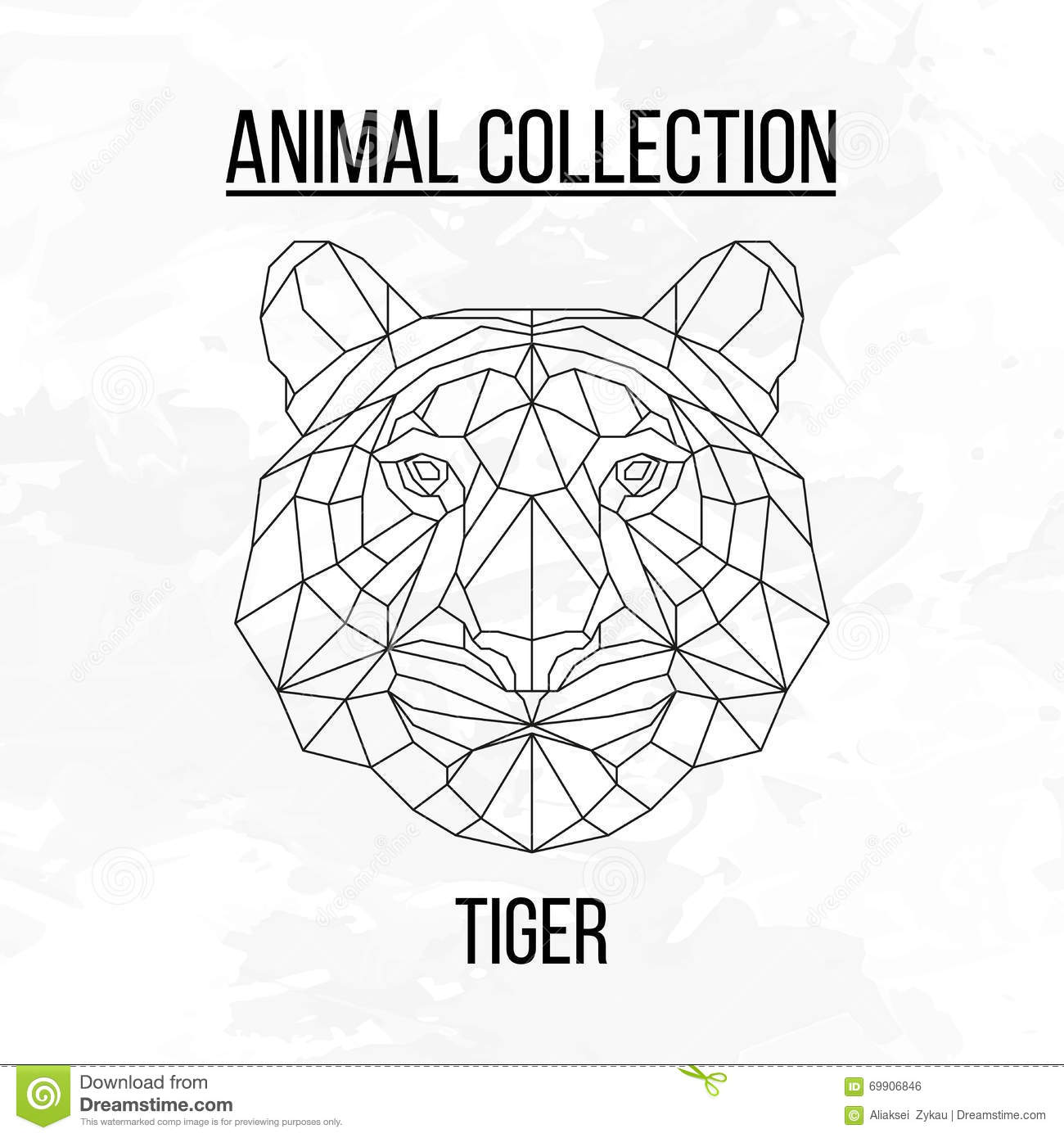 Tiger head triangular icon geometric trendy stock vector image - Royalty Free Vector Animal Background Geometric Head Tiger