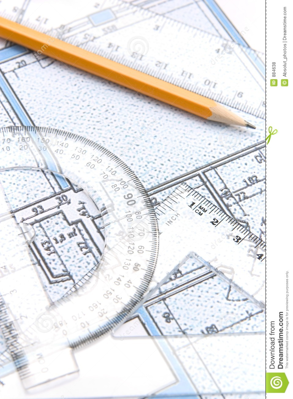 Geometric Tools And A Floor Plan Stock Photo Image 884638