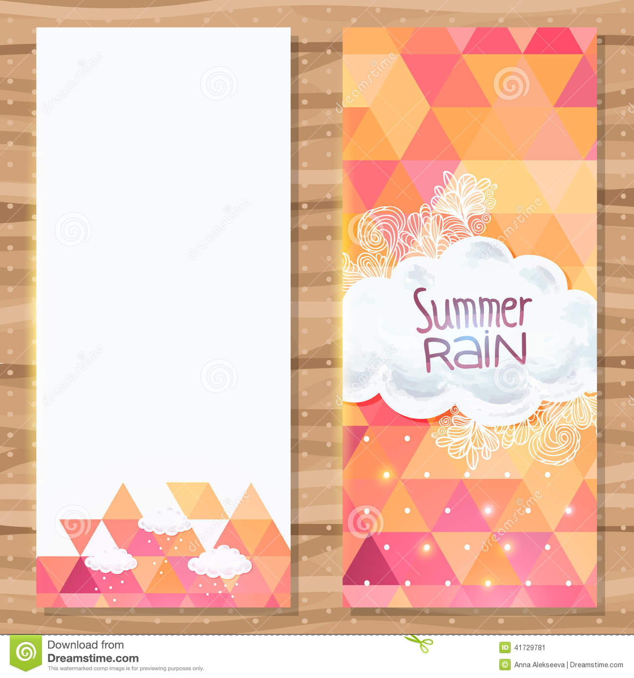 Geometric Triangle Brochure Template With Doodles Stock