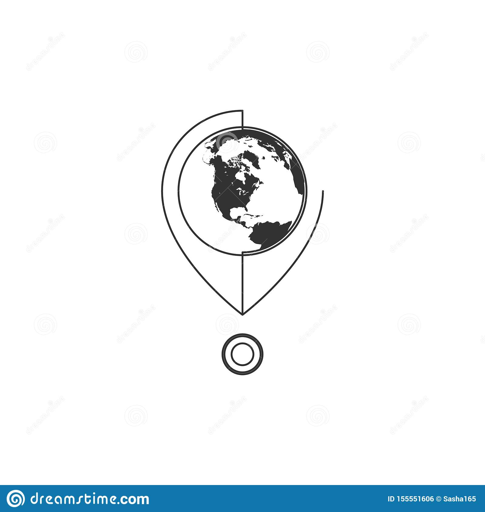Geometric Vector illustration of line map pin with globe icon. Graphic design concept of navigation. Use in Web Project and