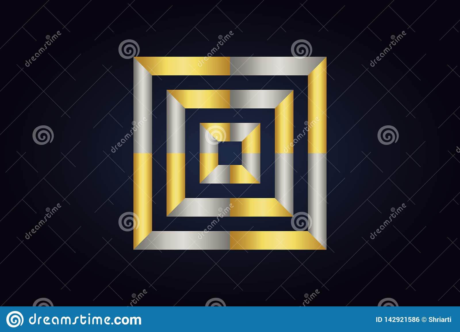 Three squares inside each other. Squares in silver and gold colors.