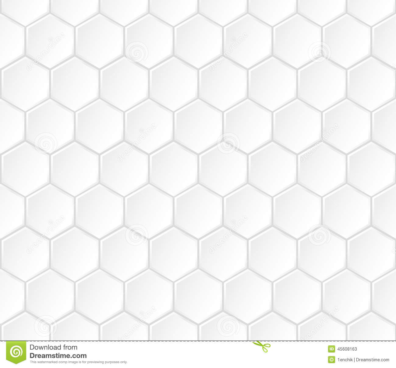 Geometric White Hexagonal Vector Seamless Pattern Stock