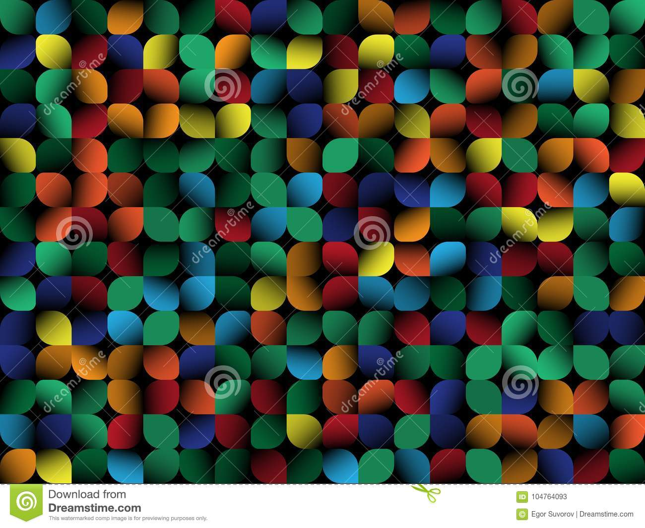 Geometrical abstract background. Color elements on black