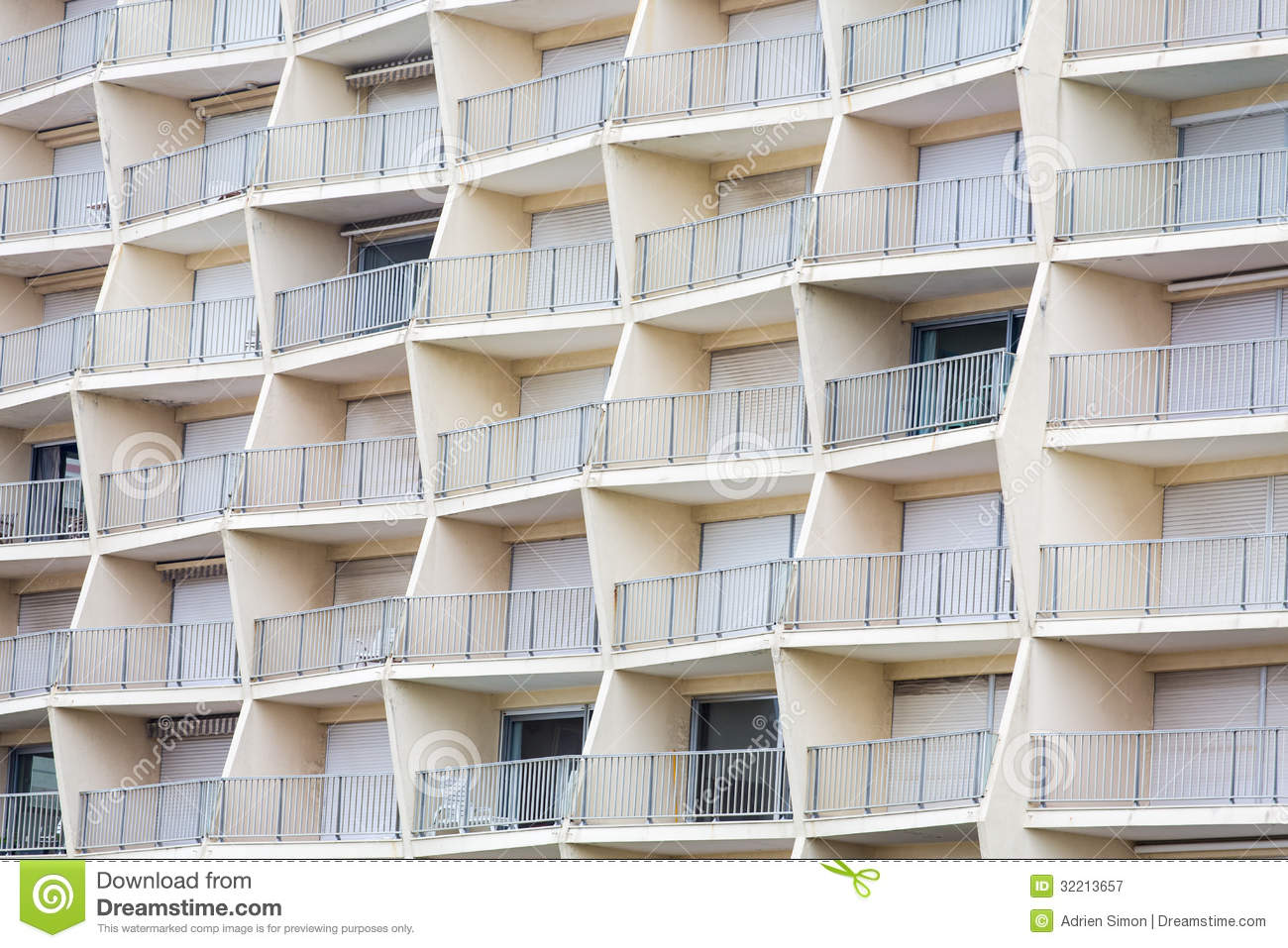 Geometrical building balcony royalty free stock for Building balcony