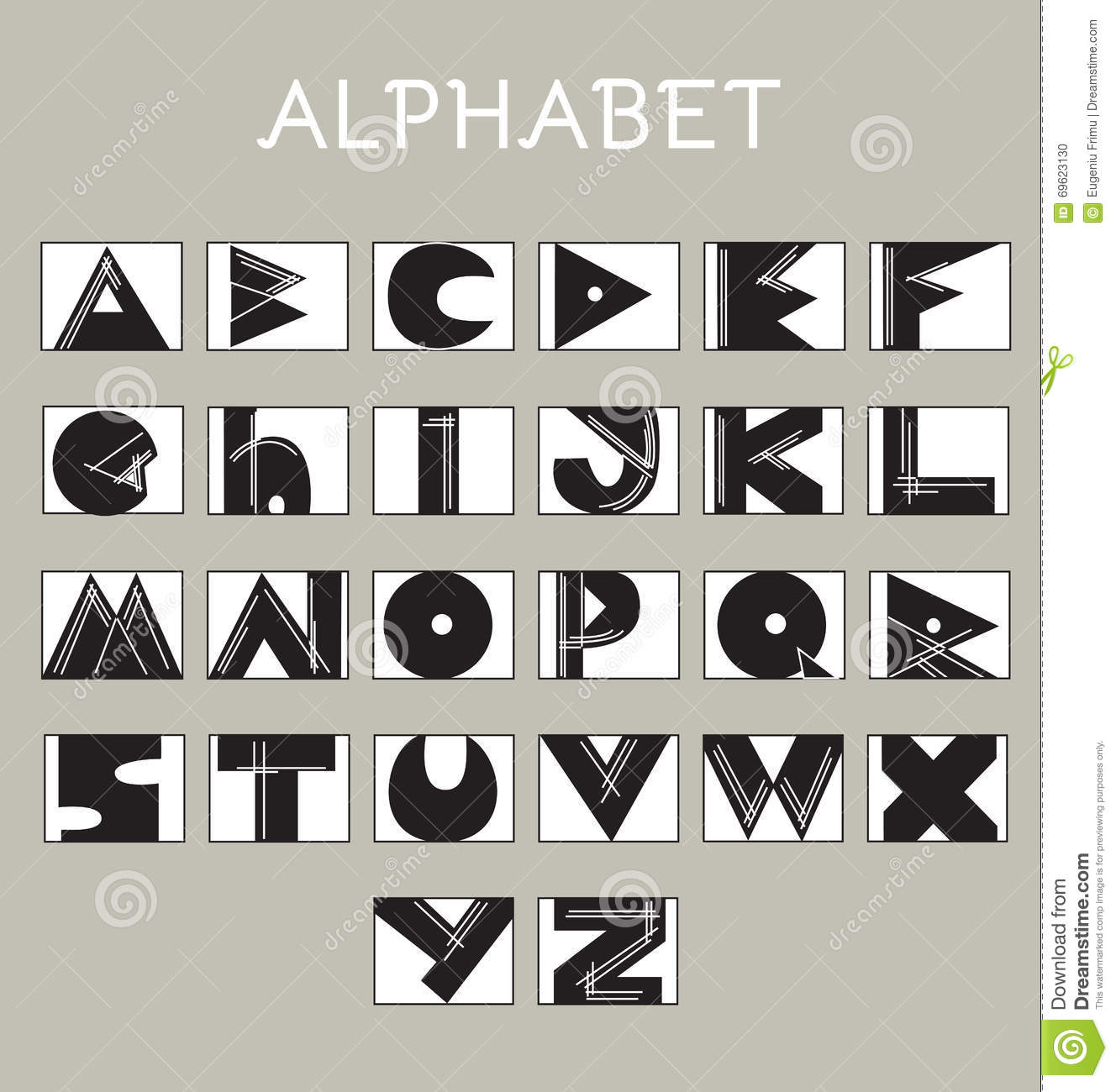Sketchy Alphabet Letters In Various Colors Geometrical Typography Conceptual Sign Modern Letterform Digital Vector Illustration On Gray