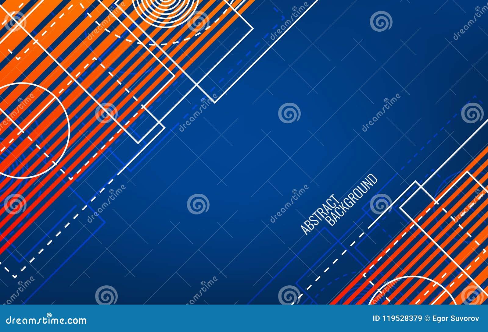 Geometrico astratto Forme e linee bianche casuali Concetto blu ed arancio Contesto luminoso moderno trendy