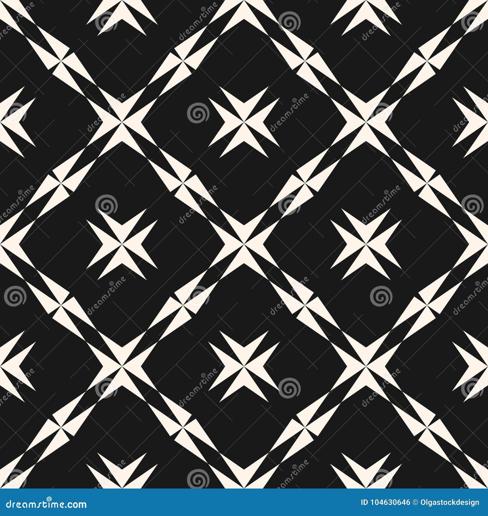 Download Geometrisch Naadloos Patroon Stervormen, Kruisen, Diagonaal Net Vector Illustratie - Illustratie bestaande uit netto, zwart: 104630646
