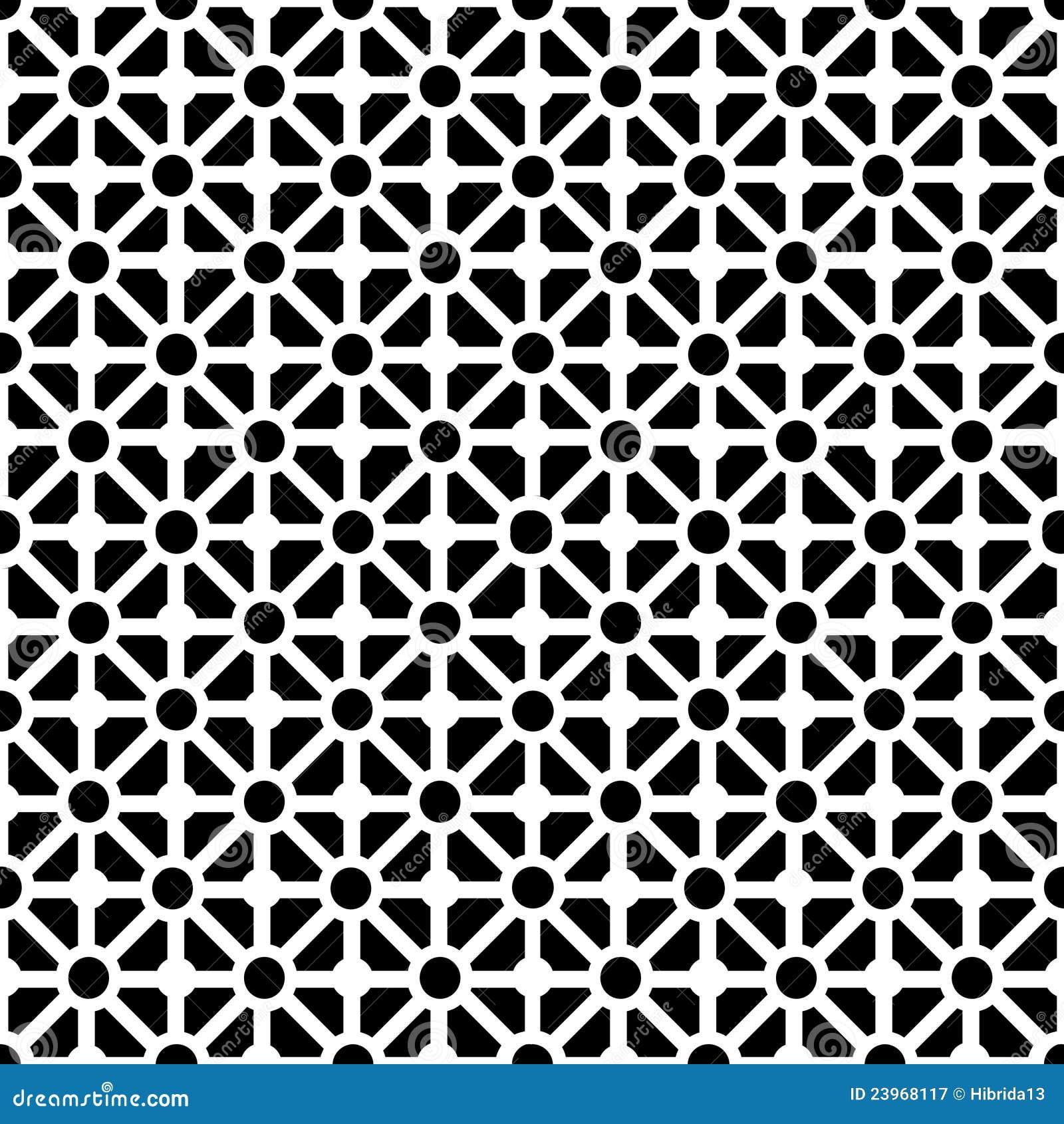 Geometrisch Naadloos Patroon In Zwart wit Royalty vrije