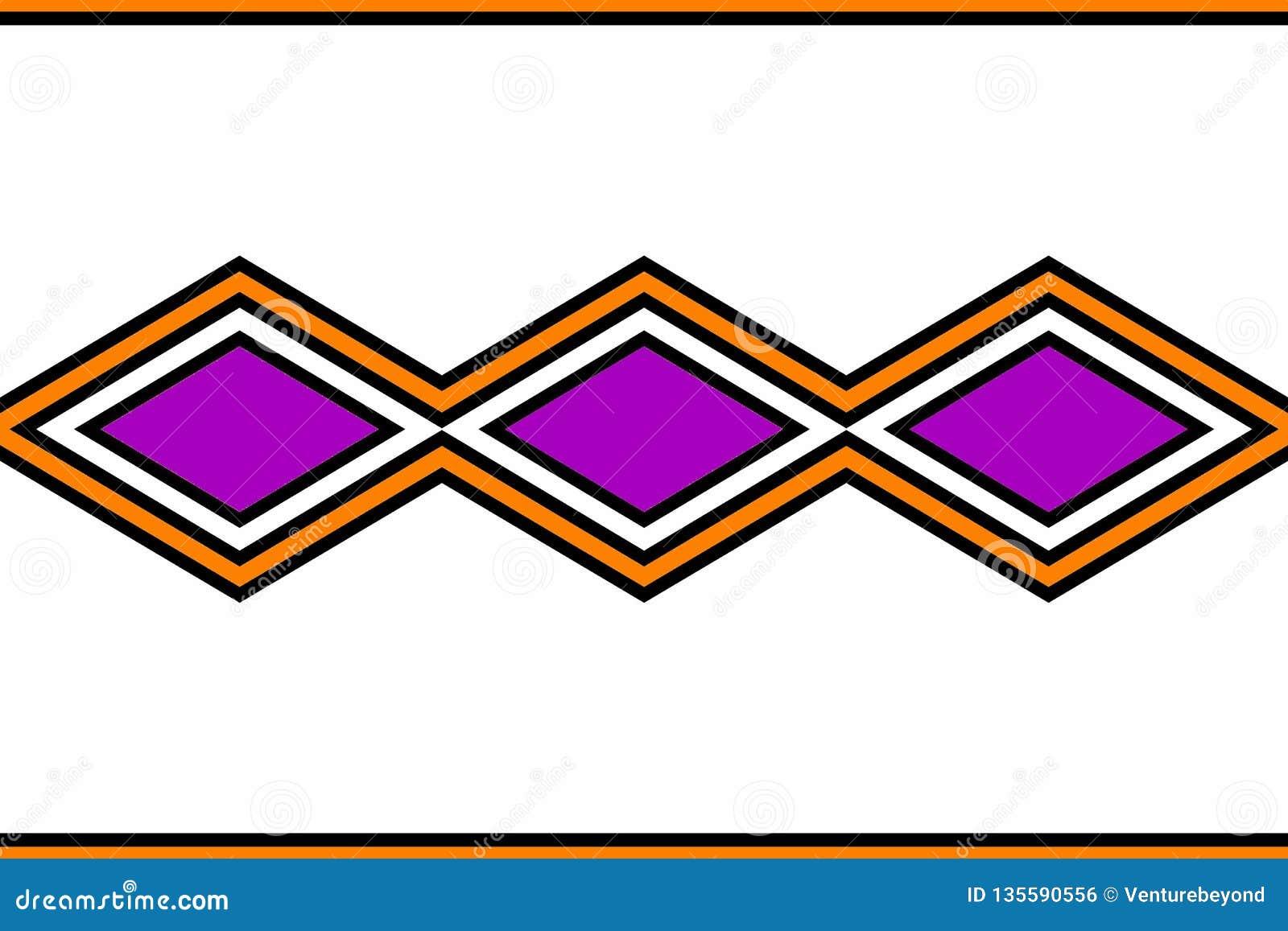 Geometrisch patroon: zwarte, purpere oranje en witte diamanten