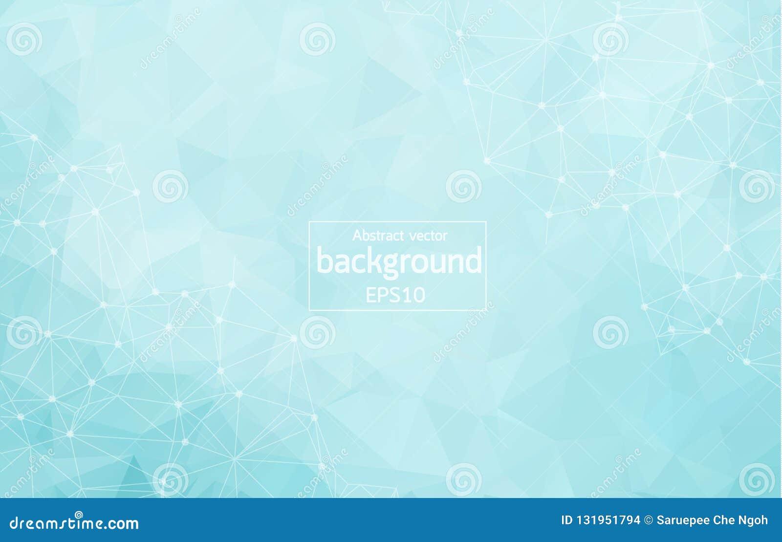 Geometrische Blauwe lichte Veelhoekige molecule en mededeling als achtergrond Verbonden lijnen met punten Minimalismachtergrond C