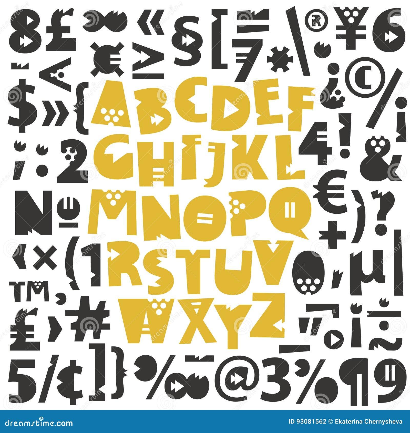 Geometrische Buchstaben, Glyphs Und Zahlen Vektor Abbildung ...