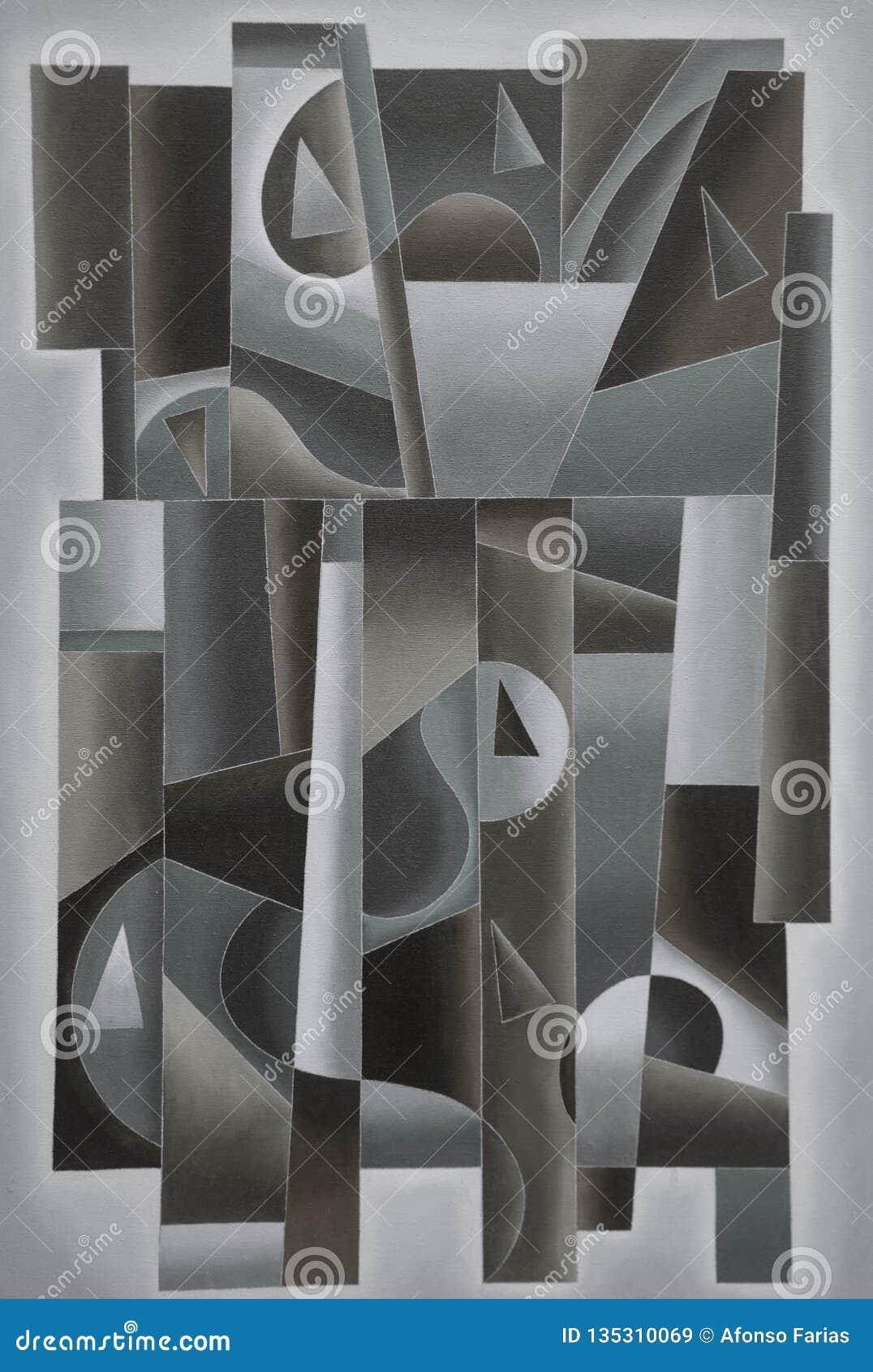 Geometrische Digital-Kunst schwarz und grau