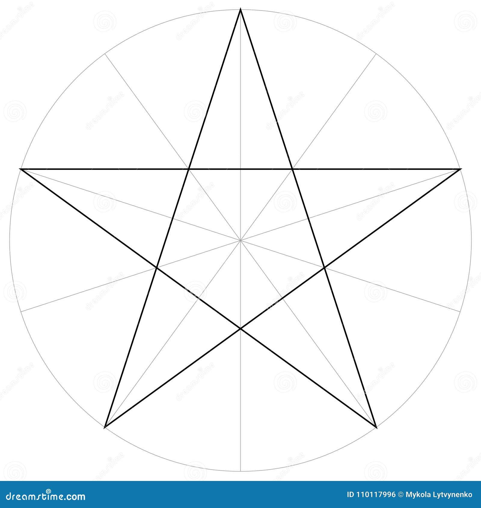 Geometrische Form der korrekten Formformschablone des gezeigten Sternes des Pentagram fünf, Vektor, der den Pentagramsektor, Scha