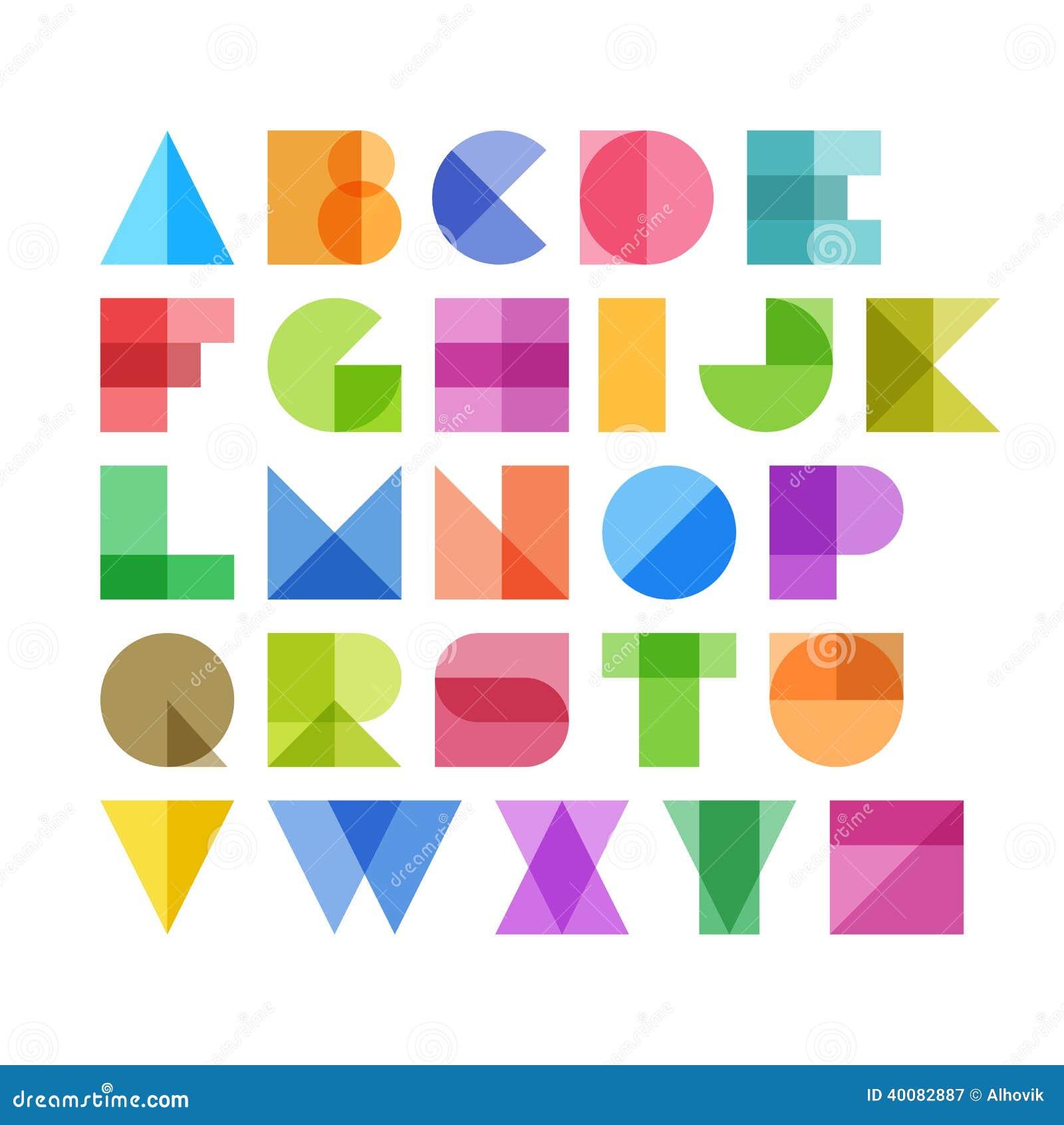 Geometrische Formalphabetbuchstaben