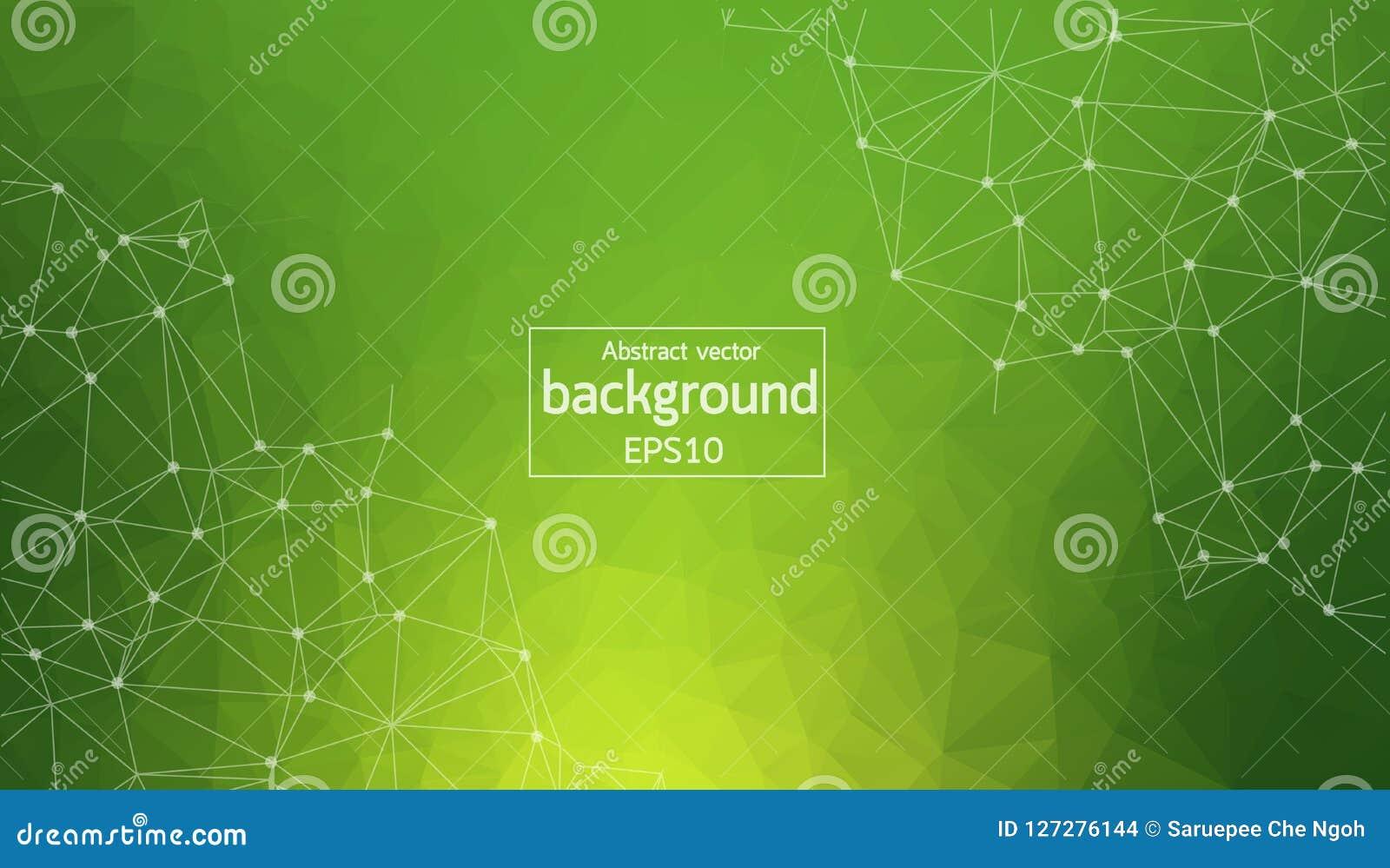Geometrische Groene Veelhoekige molecule en mededeling als achtergrond Verbonden lijnen met punten Minimalismachtergrond Concept