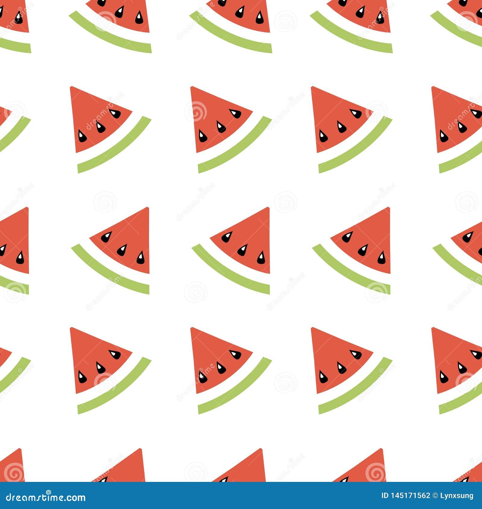 Geometrische Illustration des nahtlosen Zusammenfassungsmusters mit Melonen, Sommertapete für Textildrucken oder Hintergrund, Fa