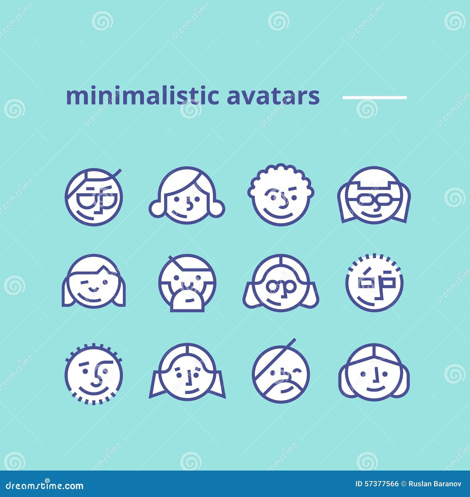 Geometrische minimalistische avatars pictogrammen voor website, sociaal netwerk