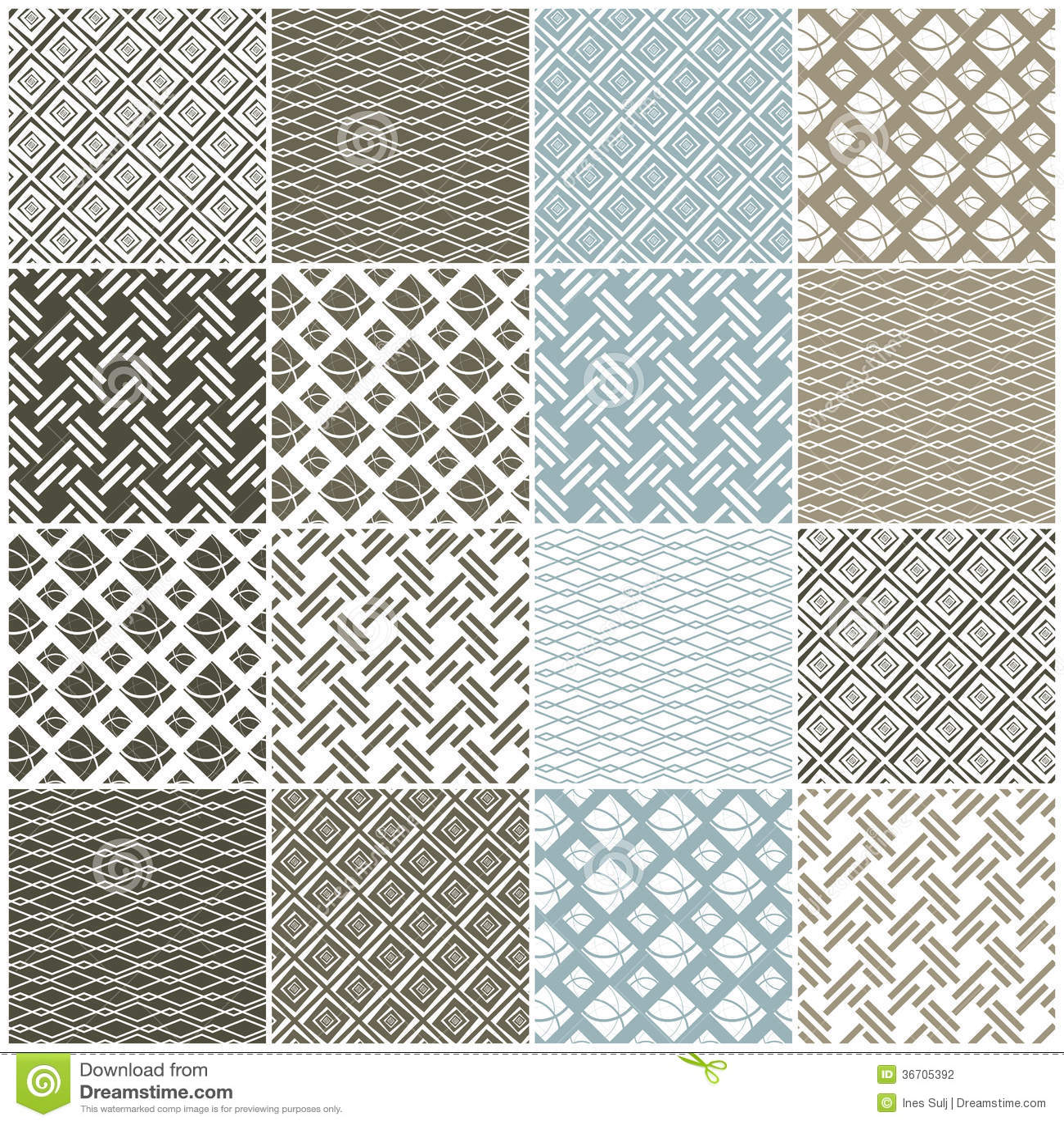 Geometrische naadloze patronen: vierkanten, lijnen, golven