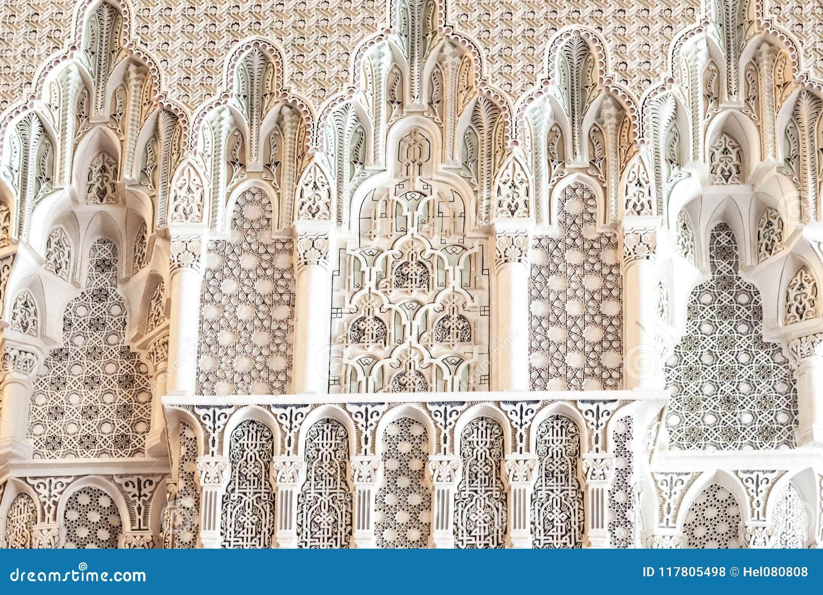Geometrische patronen: Detailskoning Hassan II Moskee, Casablanca, Marokko