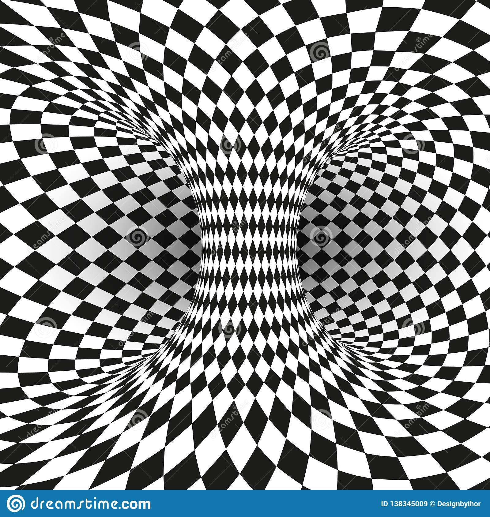 Geometrische Vierkante Zwart-witte Optische illusie Abstracte wormholetunnel Abstract ontwerpkader van wormhole