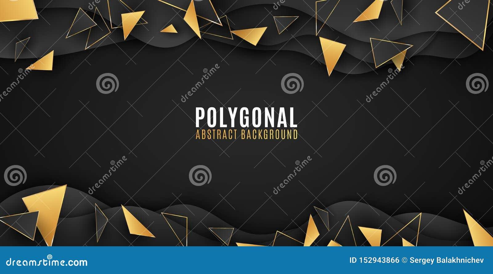 Geometrische vormen abstracte achtergrond Modieuze brochure voor uw ontwerp Document golven Lage polystijl Zwarte en gouden drieh