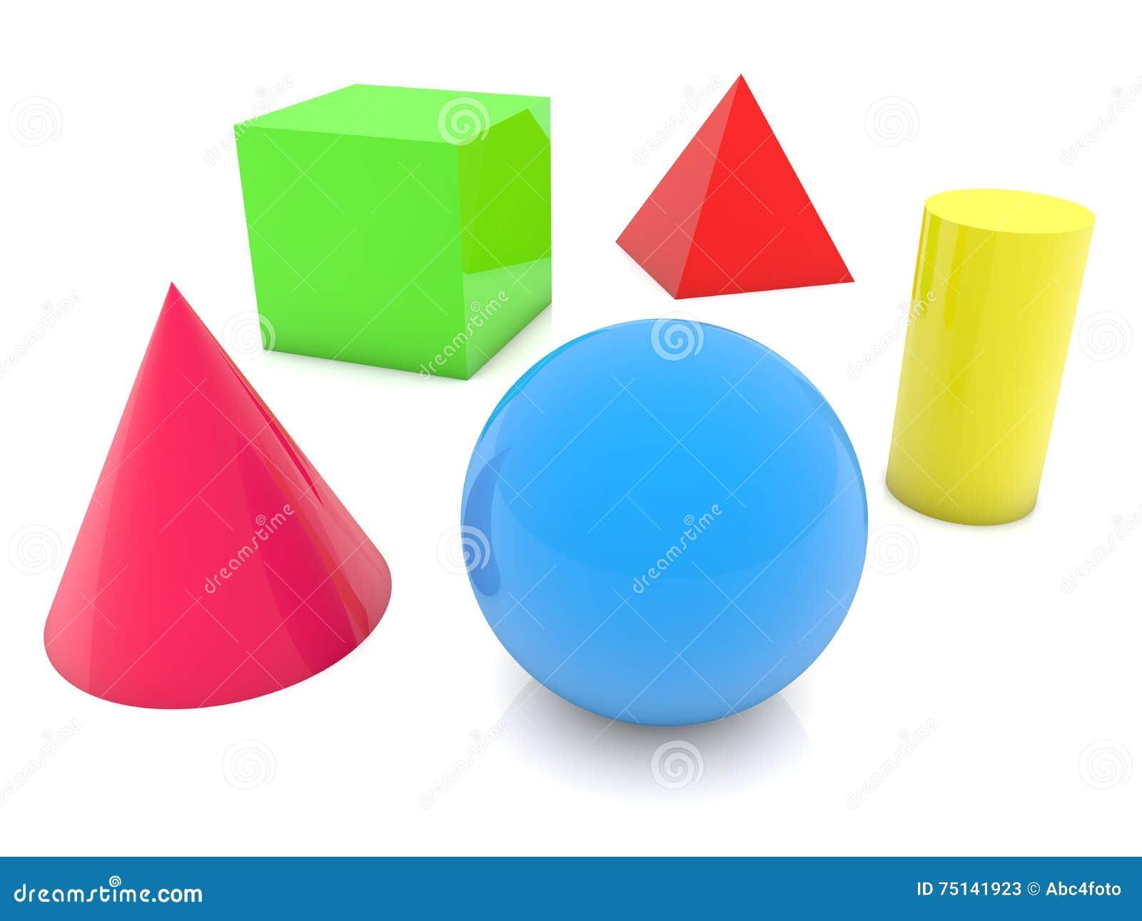 Geometrische vormen in verschillende kleuren op wit