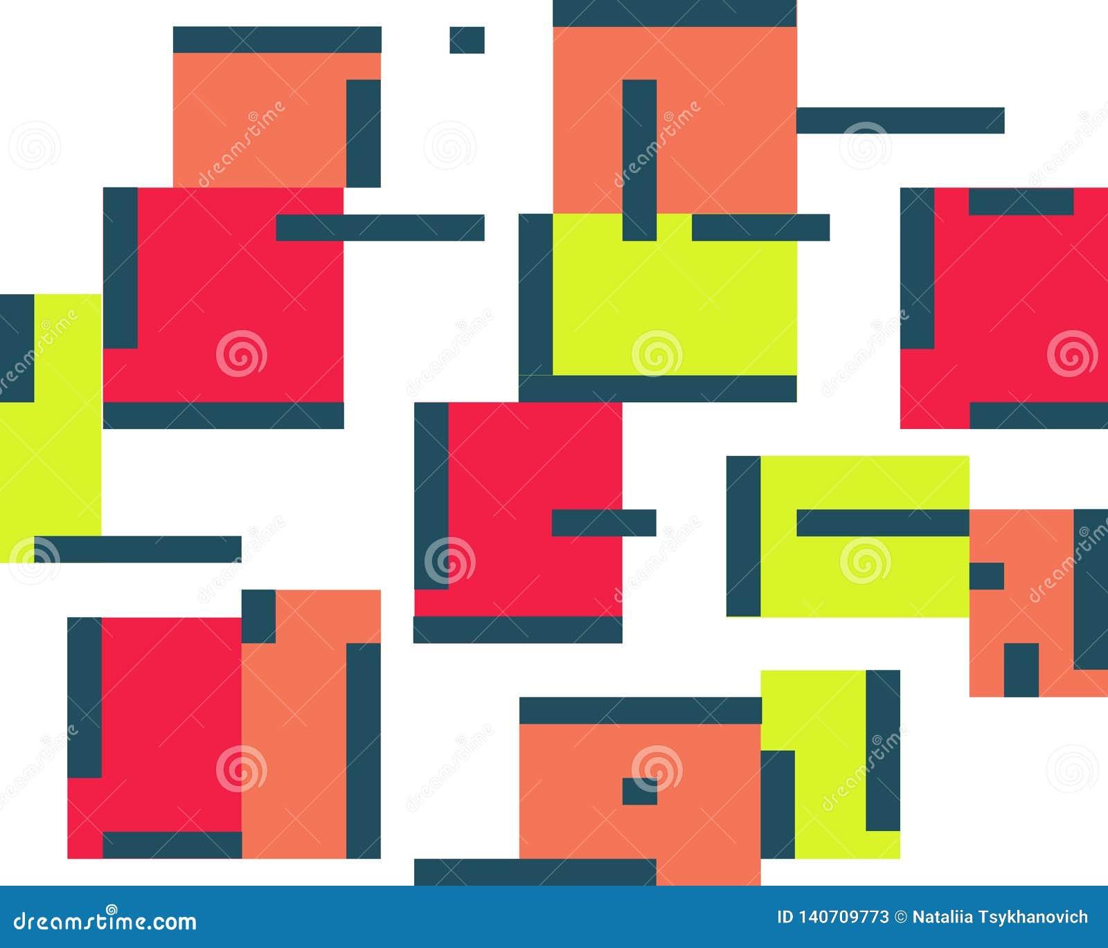 Geometrischer abstrakter Farbhintergrundsatz Quadrate und Linien
