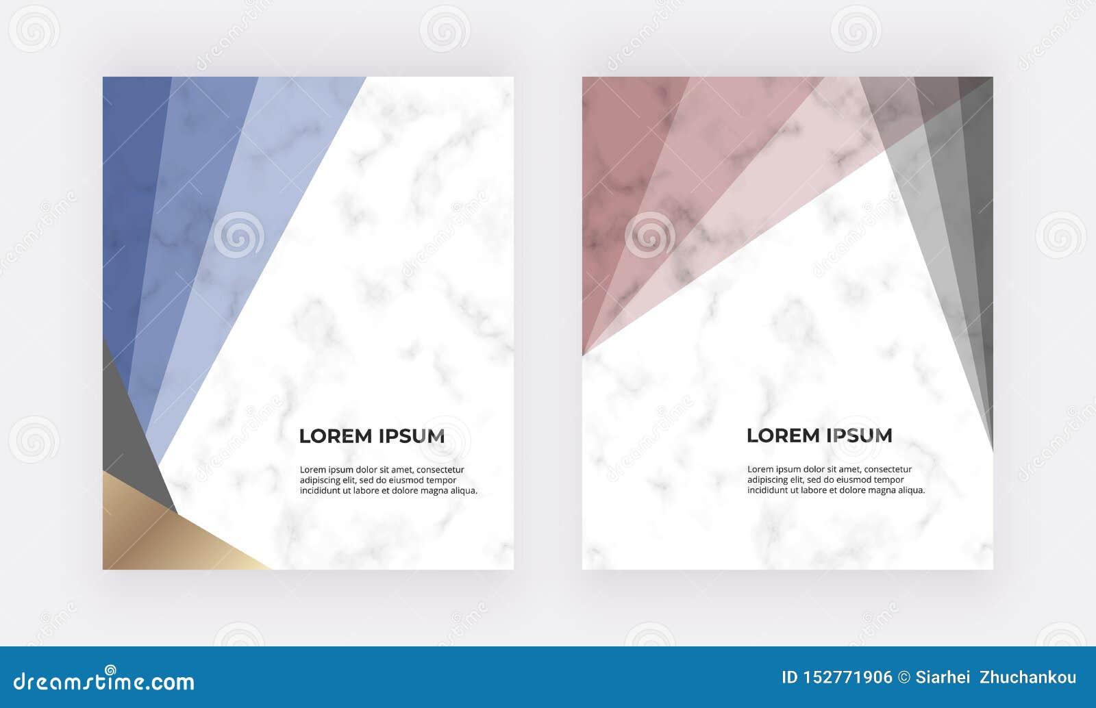 Geometrischer Entwurf mit den Blauen, Roten und Golddreiecken auf der Marmorbeschaffenheit Moderne Schablonen f?r Heiratseinladun