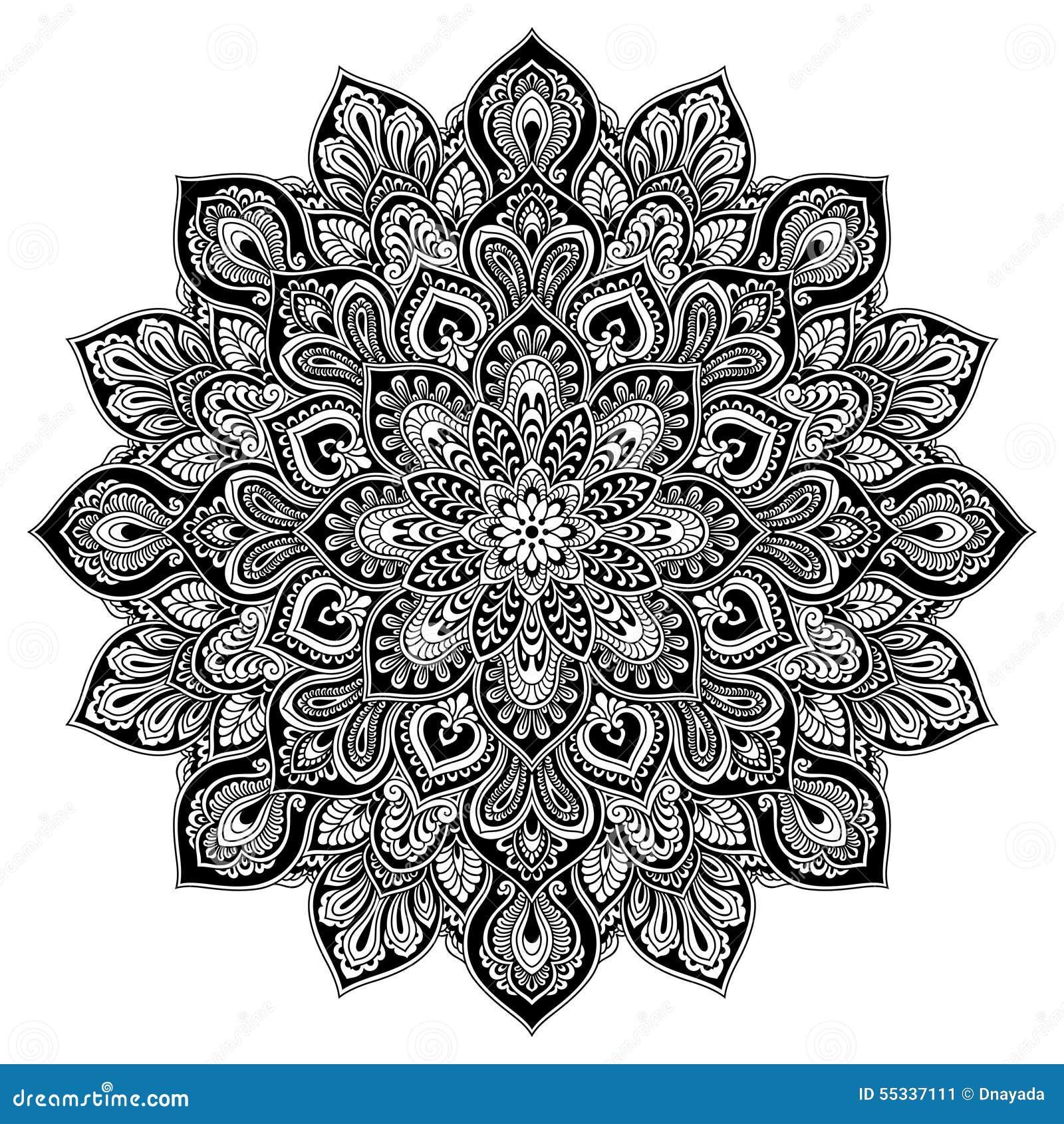Geometrisches Kreiselement Der Mandala Schwarz Vektor