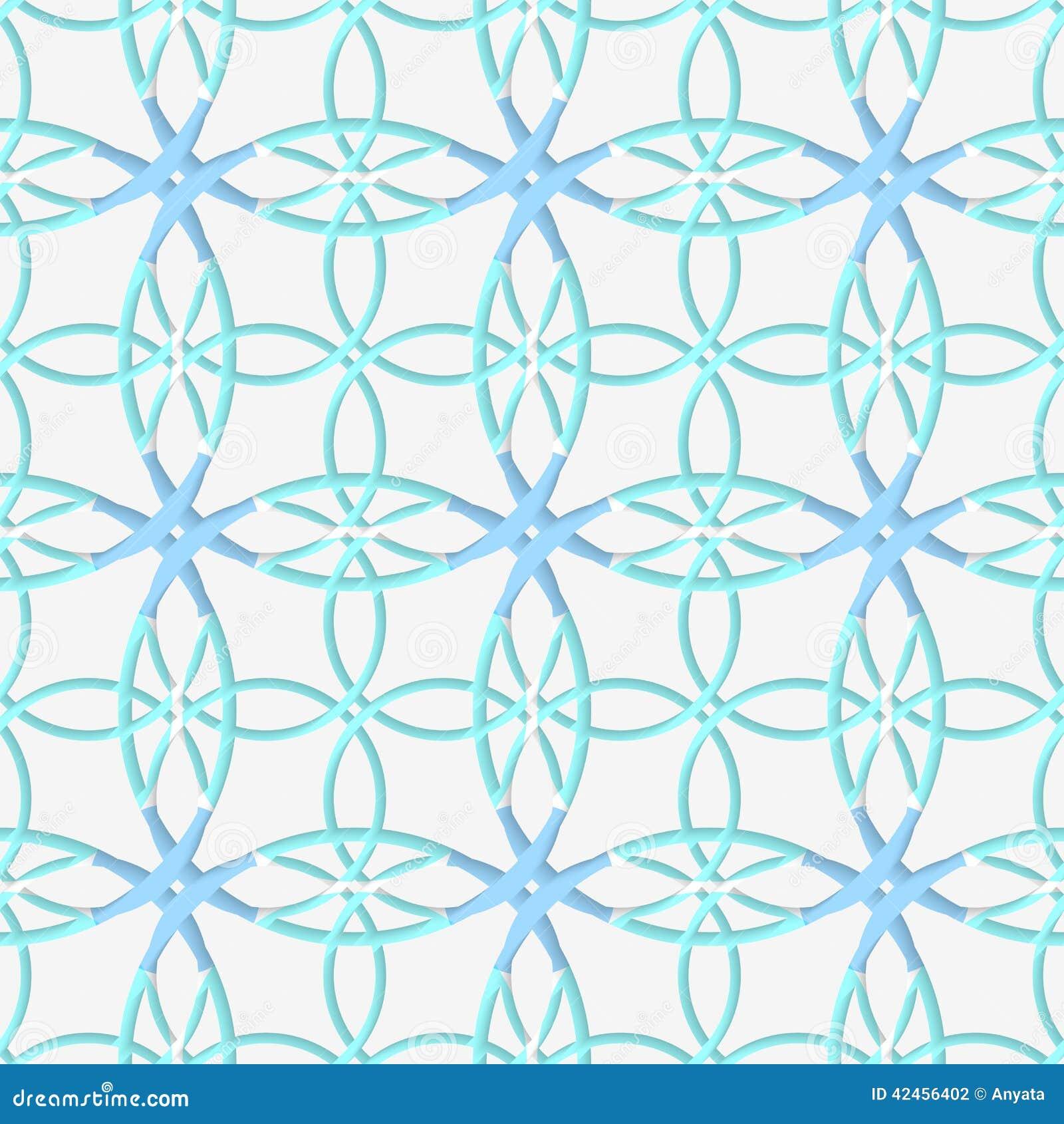 Geometrisches Muster mit Spitzeverzierung und -BLAU