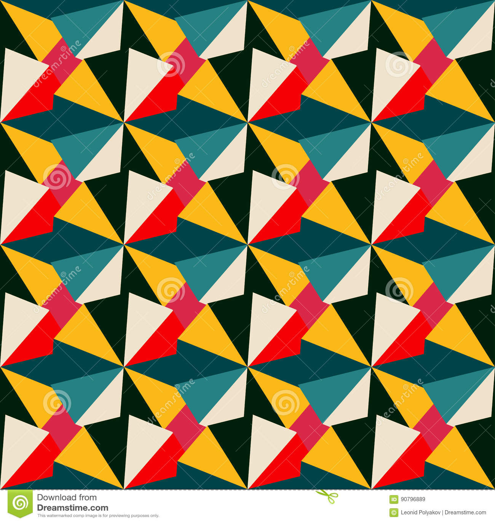 Geometrisches Nahtloses Muster In Den Retro Farben Vektor Abbildung