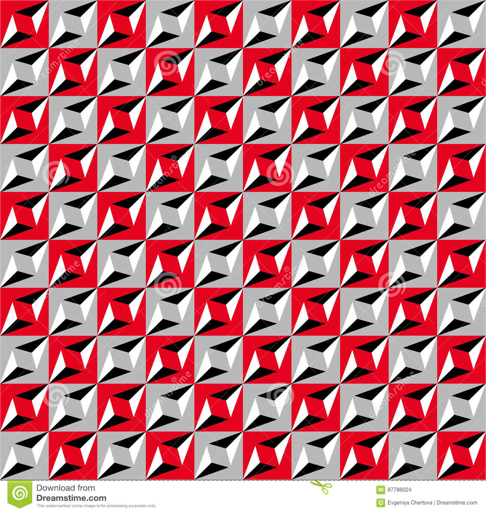 Geometrisches nahtloses Muster, optische Täuschung, Vektorhintergrund Verzierung von den roten, grauen, weißen und schwarzen Quad