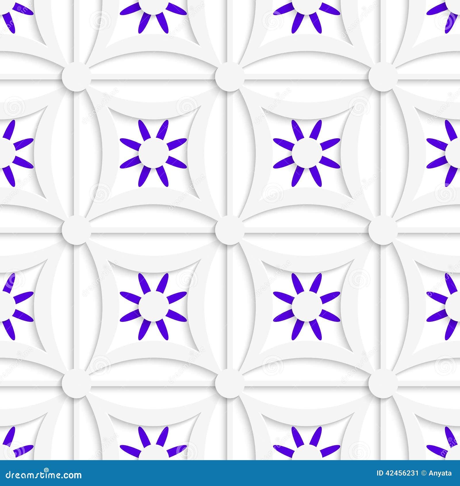 Geometrisches weißes Muster mit überlagerten purpurroten Blumen