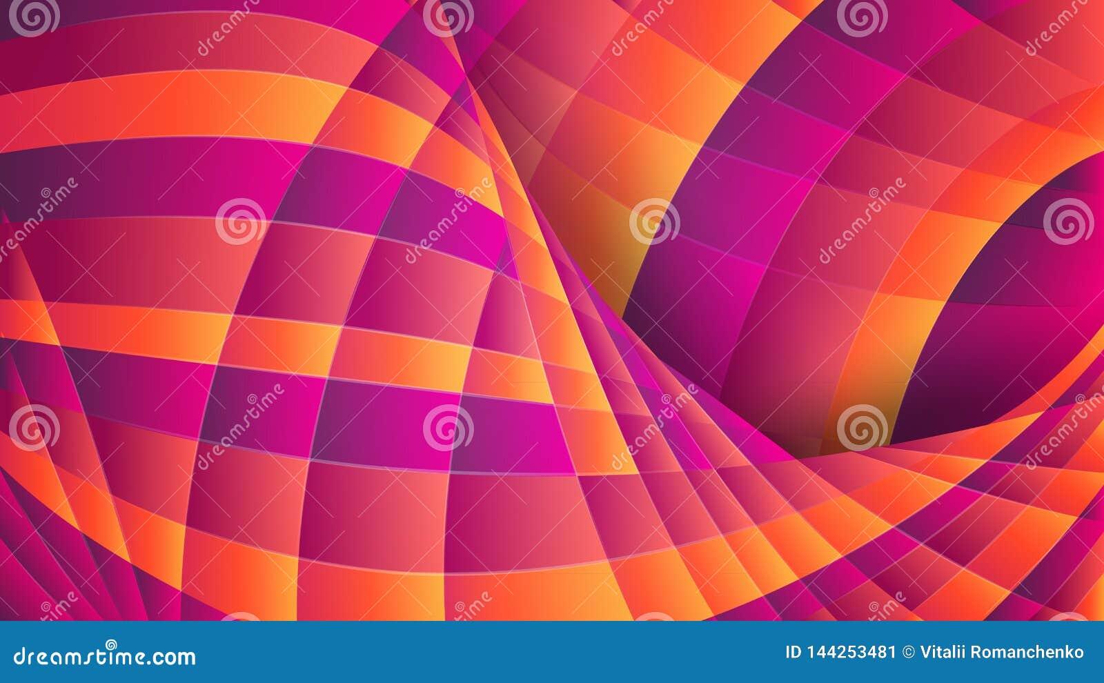 Geometrisk abstrakt bakgrund Violetta och orange krökta linjer Dynamisk effekt