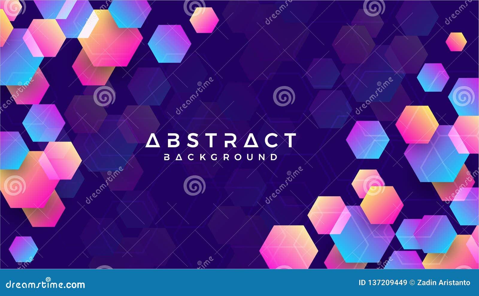 Geometrisk abstrakt sexhörningsbakgrund med blått, purpurfärgat, rosa och orange vektor för bakgrund eps10