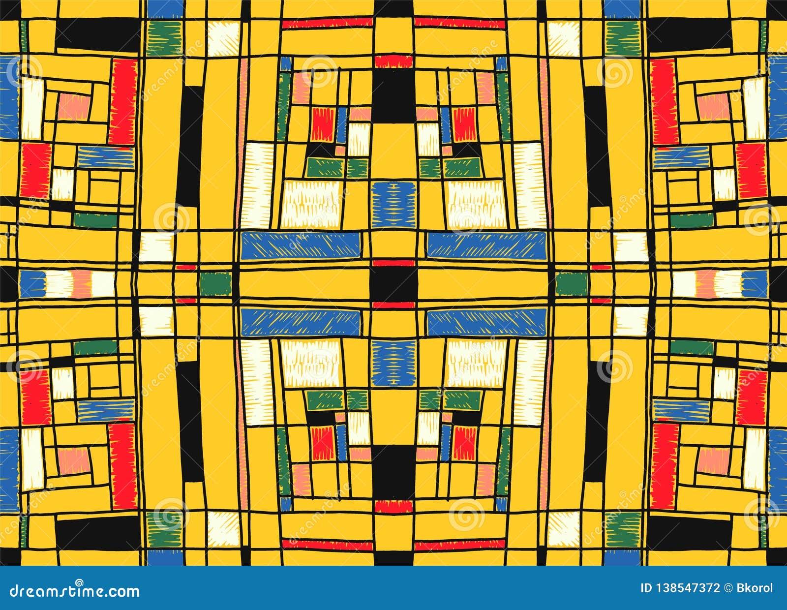Geometrisk bakgrund i Mondrian rasterstil Pop Art Pattern Sömlös prydnad med abstrakta fyrkanter