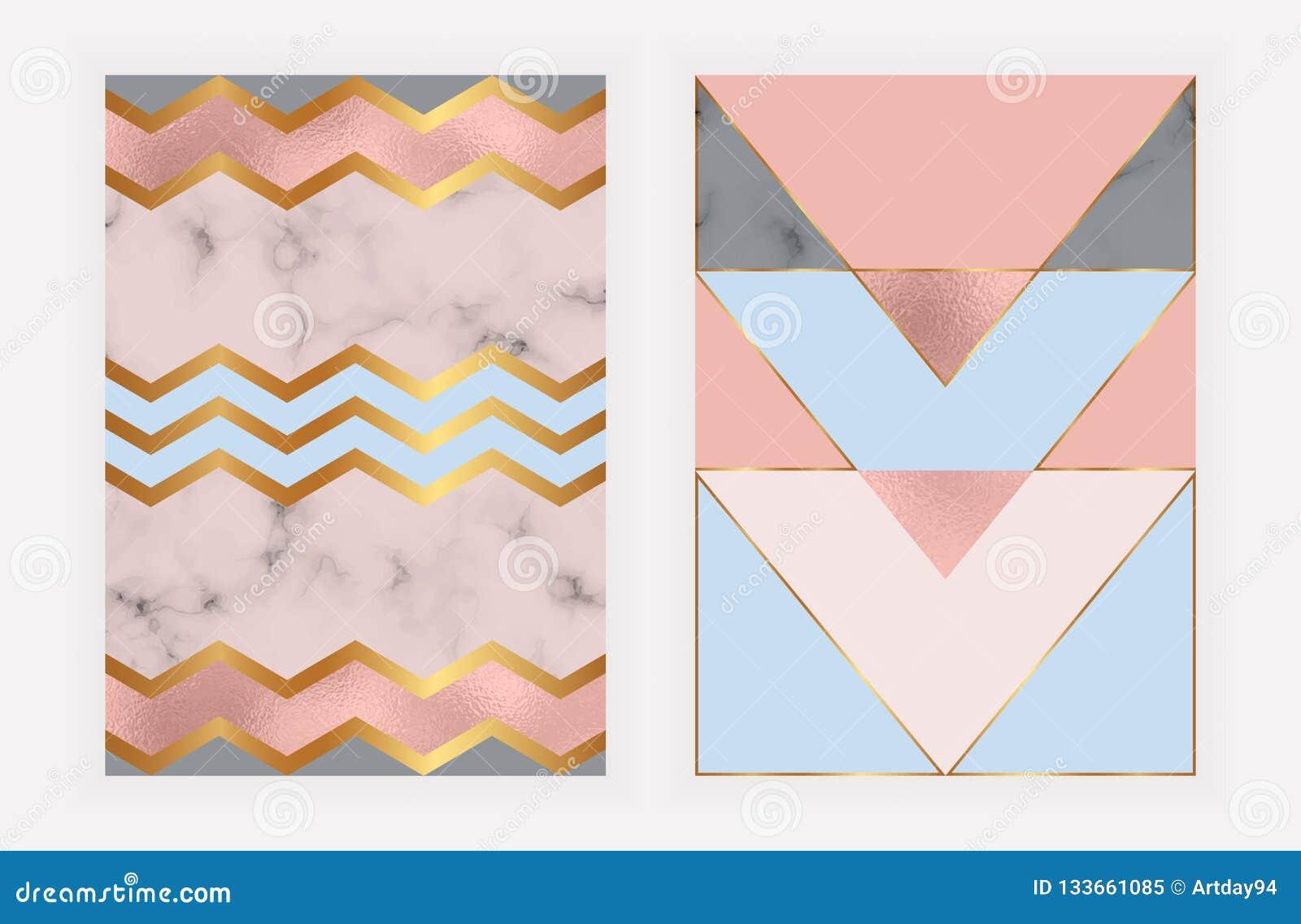 Geometrisk design för mode med rosa guld- folie- och marmortextur Modern bakgrund för kort, beröm, reklamblad, socialt massmedia,