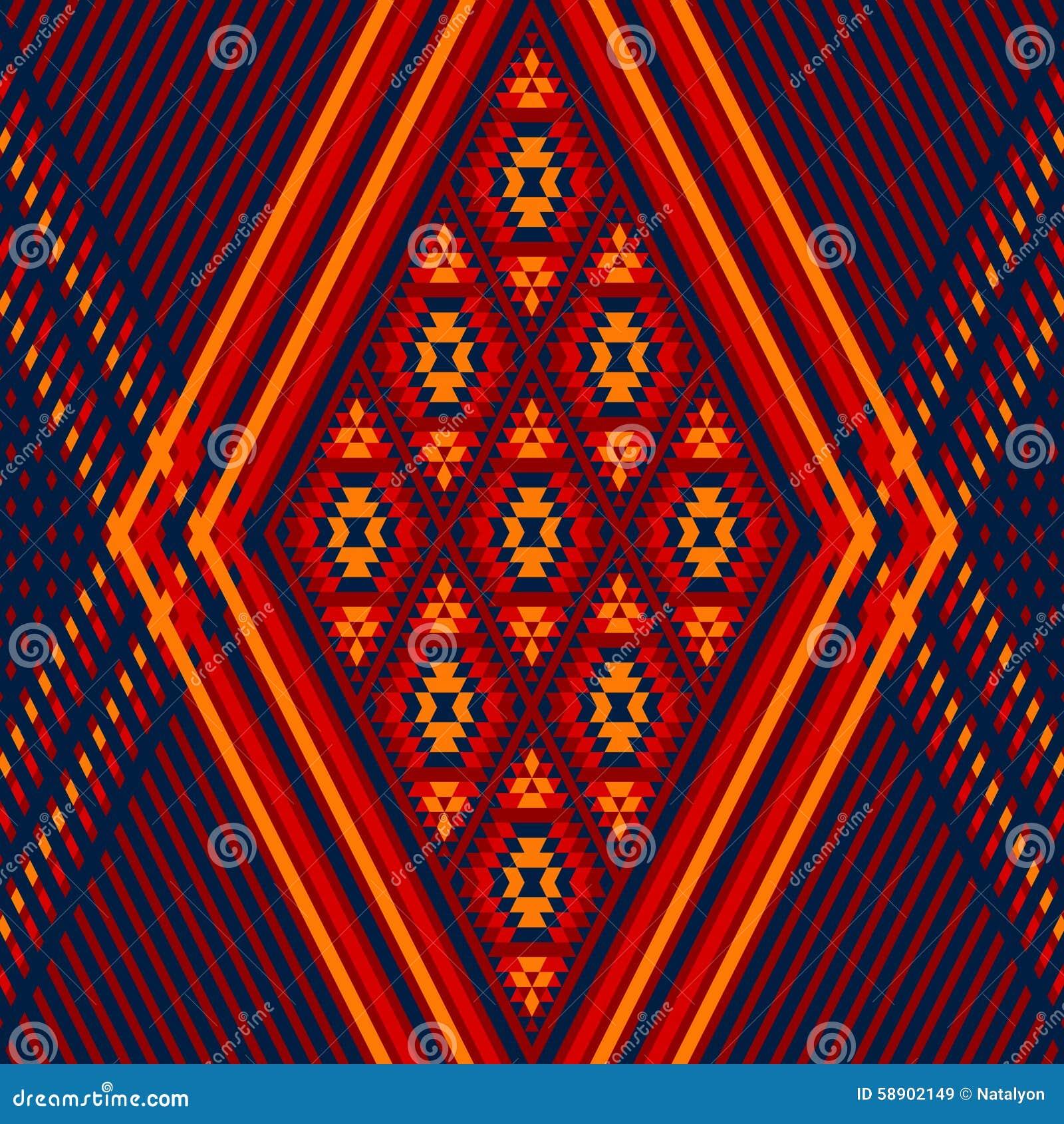 Geometrisk etnisk illustration för färgrik röd prydnad för gulingblått aztec, vektor
