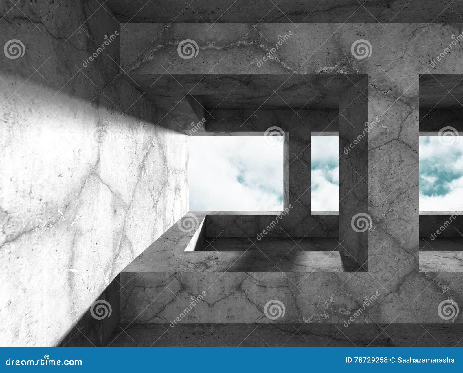 Geometrisk konkret arkitektur Töm backgr för den moderna designen för rum
