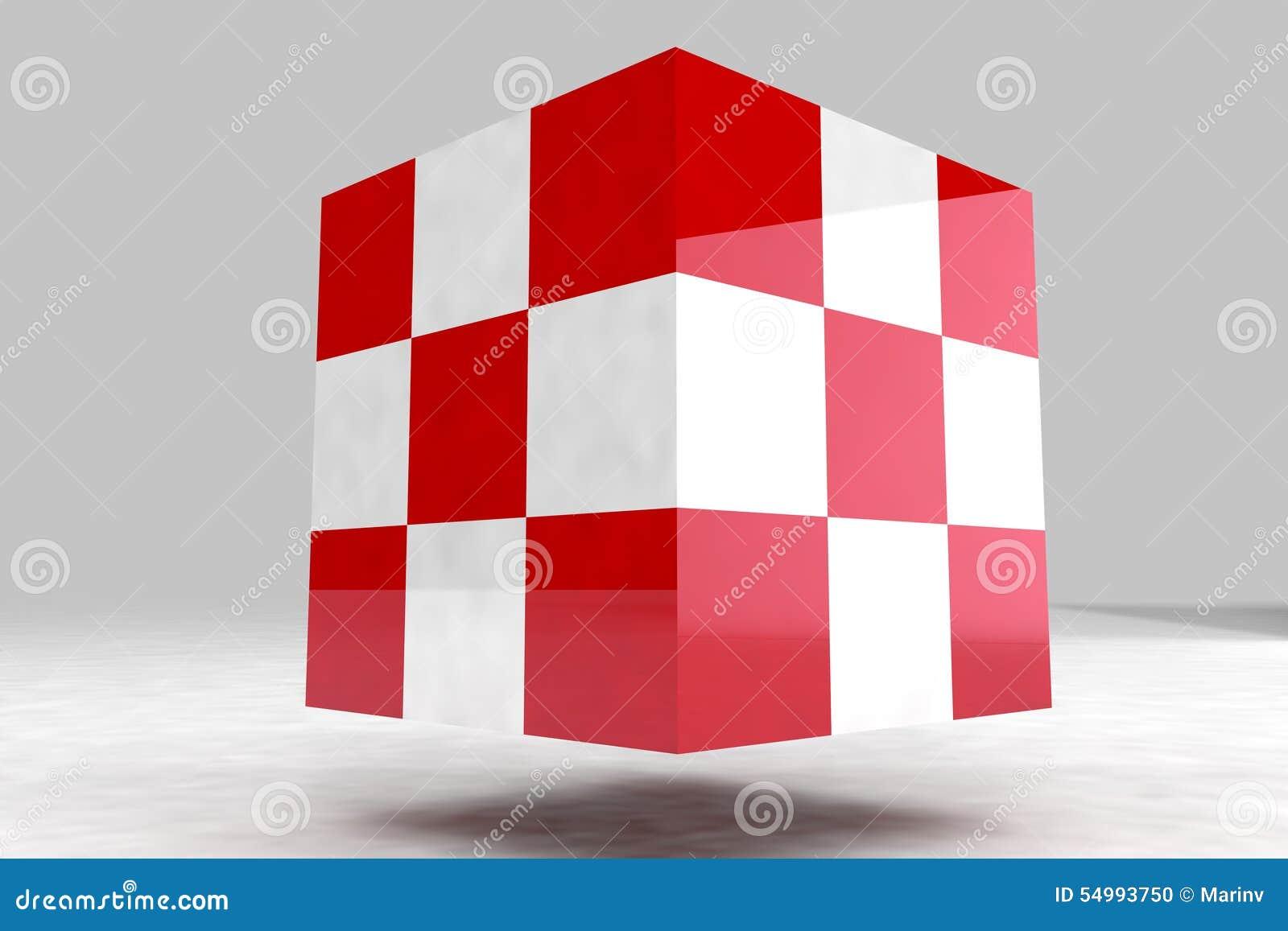 Geometrisk kropp som göras av röda och vitkuber